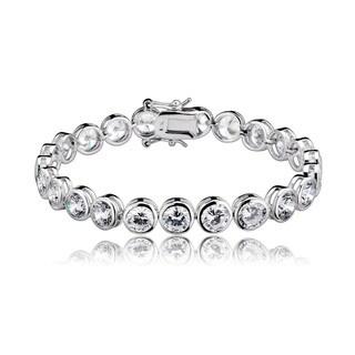 Collette Z Sterling Silver Women's Round Bezel-set Cubic Zirconia Bracelet