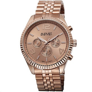 August Steiner Rose Goldtone Men's Swiss Quartz Multifunction Bracelet Watch
