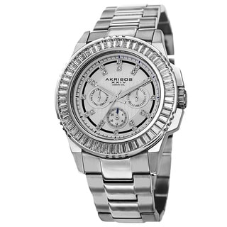 Akribos XXIV Men's Diamond Stainless Steel Silver-Tone Bracelet Watch with Gift Box