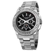 Akribos XXIV Men's Diamond Stainless Steel Silver-Tone Bracelet Watch