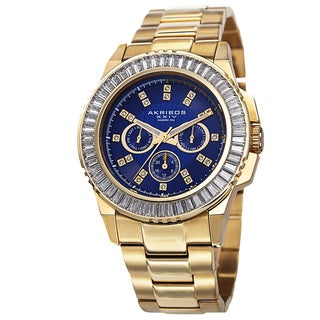 Akribos XXIV Men's Diamond Stainless Steel Gold-Tone Bracelet Watch