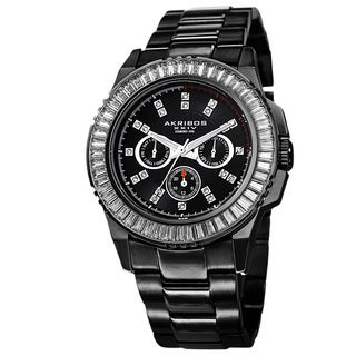Akribos XXIV Men's Diamond Stainless Steel Black Bracelet Watch