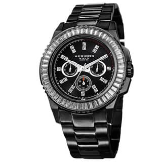 Akribos XXIV Men's Diamond Stainless Steel Black Bracelet Watch with FREE GIFT|https://ak1.ostkcdn.com/images/products/8933100/Akribos-XXIV-Mens-Genuine-Diamond-Stainless-Steel-Bracelet-Watch-P16147742.jpg?impolicy=medium