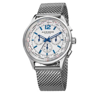 Akribos XXIV Men's Dual-Time Chronograph Mesh Stainless Steel Strap Bracelet Watch (3 options available)