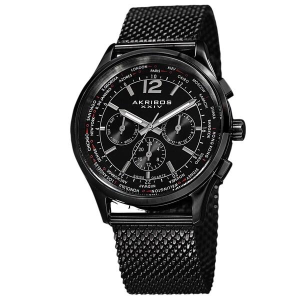 Akribos XXIV Men's Dual-Time Chronograph Mesh Stainless Steel Strap Bracelet Watch