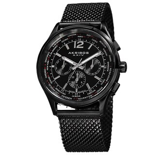 Akribos XXIV Men's Dual-Time Chronograph Mesh Stainless Steel Strap Bracelet Watch