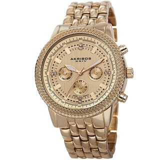 Akribos XXIV Women's Swiss Quartz Multifunction Stainless Steel Gold-Tone Bracelet Watch