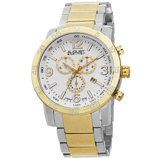August Steiner Men's Swiss Quartz Chronograph Tachymeter Two-Tone Bracelet Watch