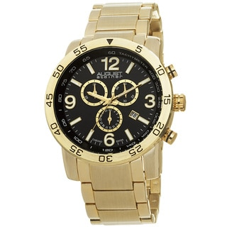 August Steiner Men's Swiss Quartz Chronograph Tachymeter Gold-Tone Bracelet Watch