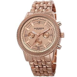 Akribos XXIV Women's Swiss Quartz Multifunction Stainless Steel Rose-Tone Bracelet Watch