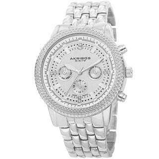 Akribos XXIV Women's Swiss Quartz Multifunction Stainless Steel Silver-Tone Bracelet Watch