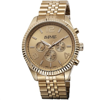 August Steiner Men's Goldtone Stainless Steel Swiss Quartz Multifunction Bracelet Watch