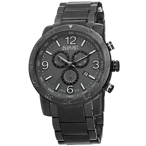 August Steiner Men's Swiss Quartz Chronograph Tachymeter Gun Bracelet Watch