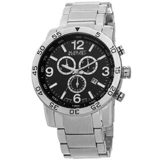 August Steiner Men's Swiss Quartz Chronograph Tachymeter Silver-Tone Bracelet Watch