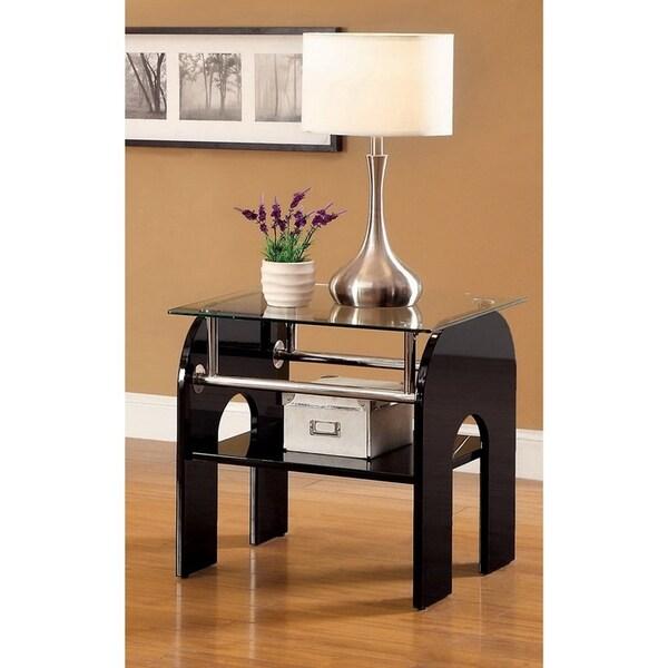 Furniture of America Vyer Modern Black Glass Single-shelf End Table