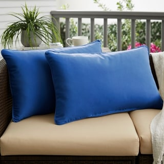 Sunbrella True Blue Indoor/ Outdoor 12 x 24-inch Corded Lumbar Pillows (Set of 2)