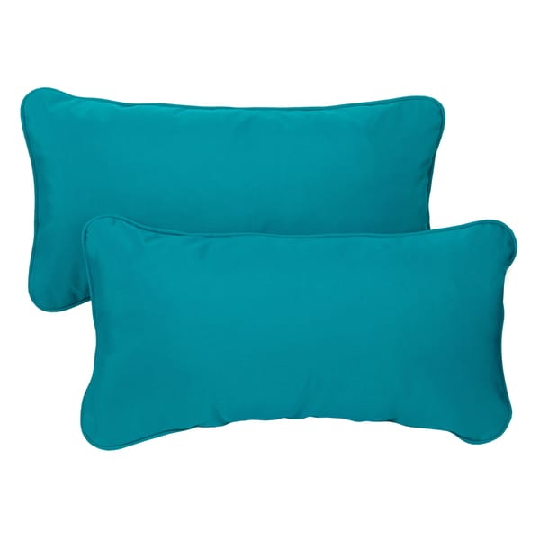 Teal Corded 12 X 24 Inch Indoor Outdoor Lumbar Pillows