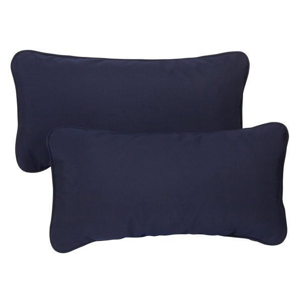 Navy Blue Corded 12 X 24 Inch Indoor Outdoor Lumbar