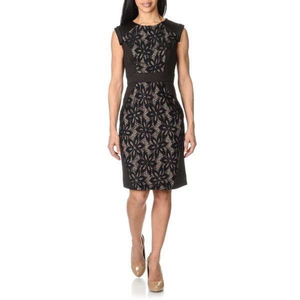 R & M Richards Women's Black Lace Front Sleeveless Dress
