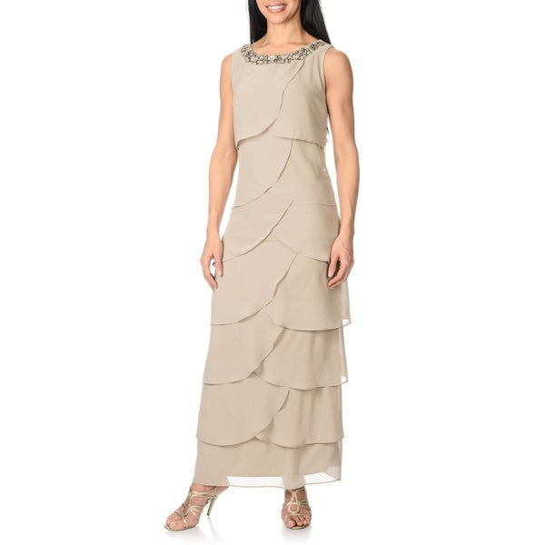 R & M Richards Women's Taupe Asymmetrical Tiered Dress