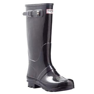 Women's Black Mid-calf Wedge Heel Rain Boots
