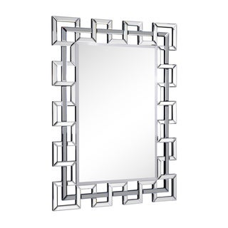 Somette Rectangle Modern Cube Frame Wall Mirror - Silver