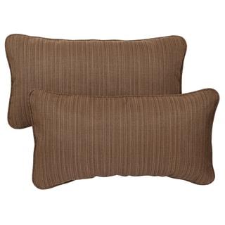 Textured Brown Corded 12 x 24 inch Indoor/ Outdoor Lumbar Pillows with Sunbrella Fabric (Set of 2)
