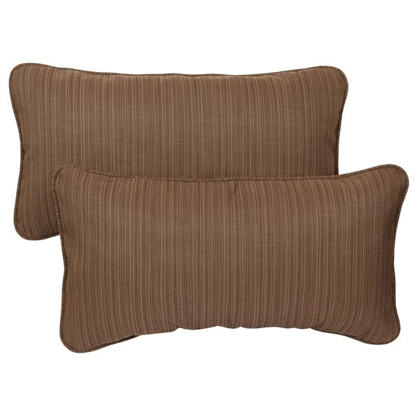 textured brown corded 12 x 24 inch indoor outdoor lumbar pillows with sunbrella fabric
