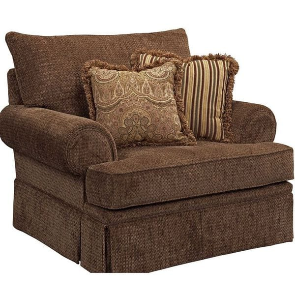 Helena Brown Chair And A Half With Throw Pillows Free