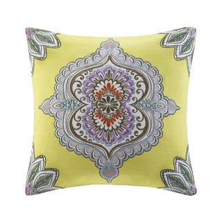 Echo Design Rio Cotton Square Throw Pillow with Embroidered Medallion