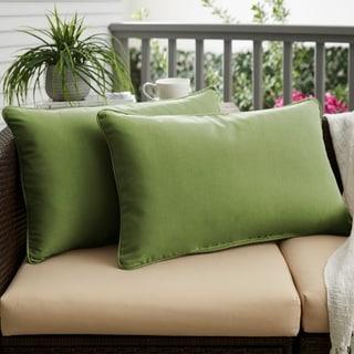 Cilantro Green Corded Indoor/ Outdoor Pillows with Sunbrella Fabric (Set of 2)
