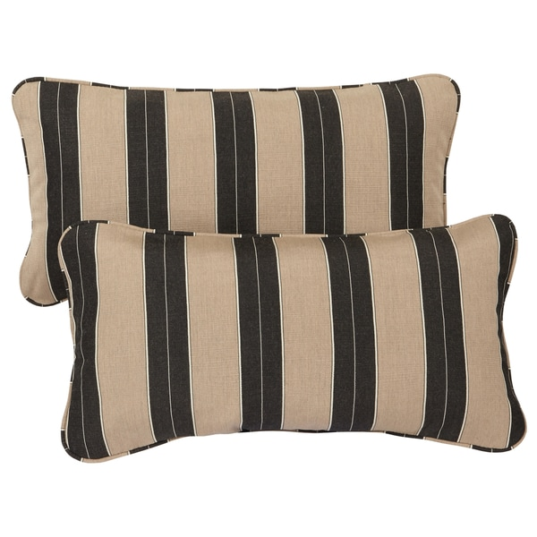 cocoa stripe corded indoor outdoor lumbar pillows with sunbrella fabric set of 2