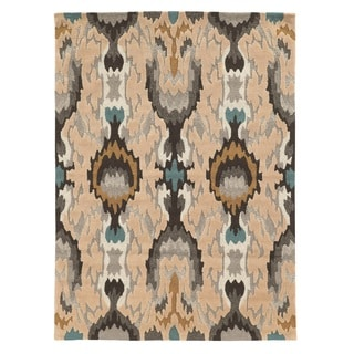 Linon Trio Collection Multi Ikat Beige Area Rug (2' x 3')