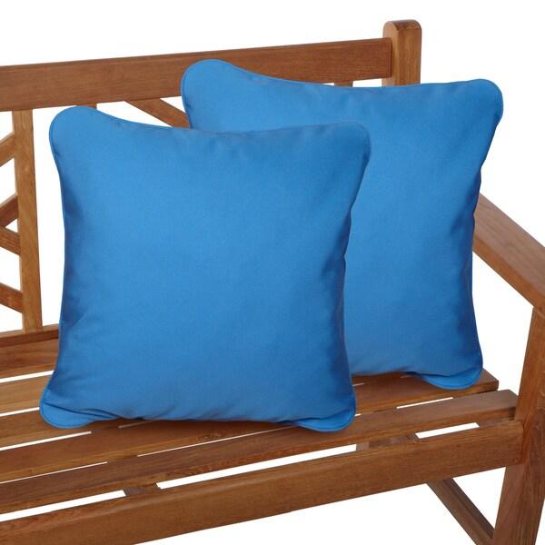 Capri Blue Corded Indoor/ Outdoor Square Throw Pillows With Sunbrella  Fabric (Set Of 2
