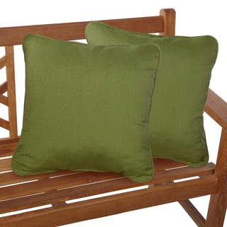 Cilantro Green Corded Indoor/ Outdoor Square Throw Pillows with Sunbrella Fabric (Set of 2)