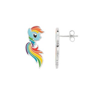 Fine Silver Plated Rainbow Dash My Little Pony Stud Earrings