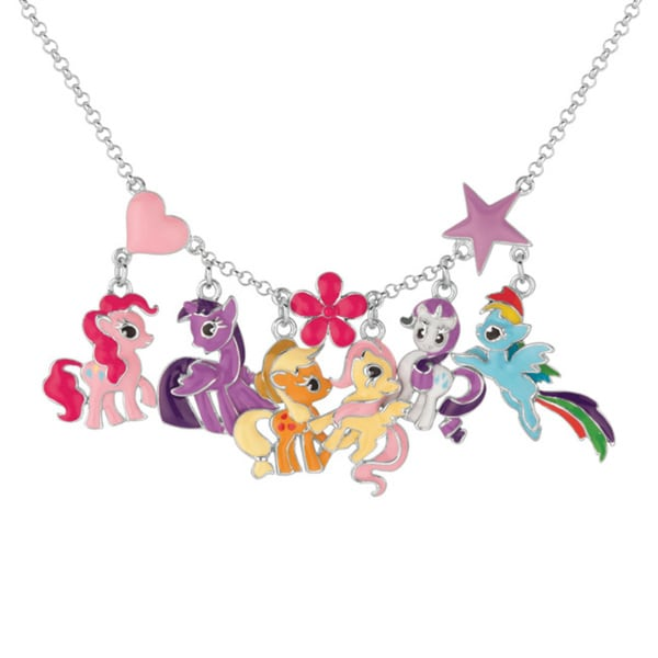 fine silver plated multi character my little pony necklace