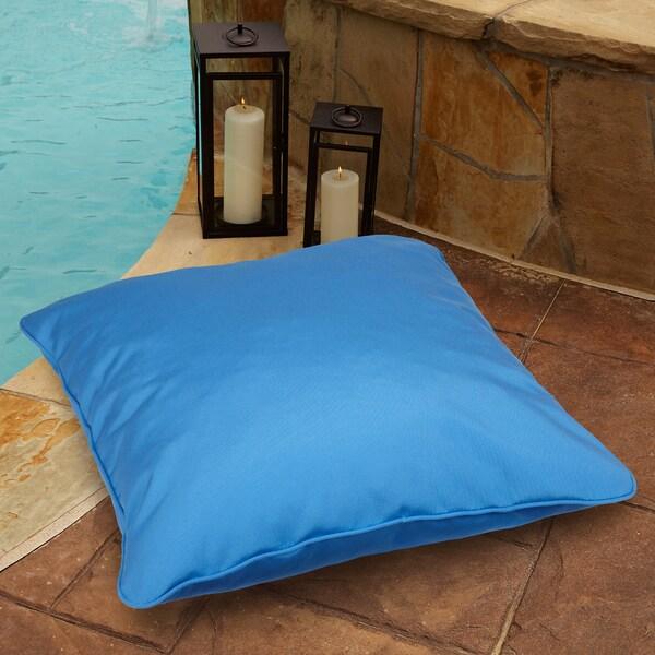 Capri Blue 26 Inch Square Indoor Outdoor Floor Pillow With Sunbrella Fabric