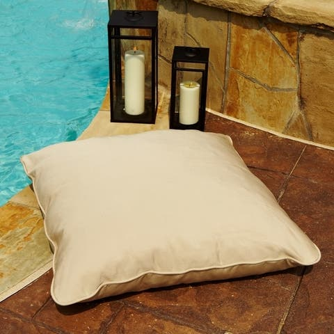 Antique Beige 26-inch Square Indoor/ Outdoor Floor Pillow with Sunbrella Fabric