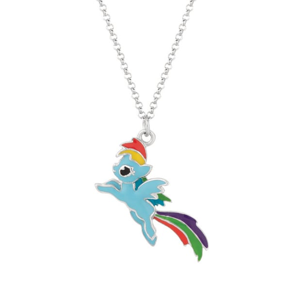 Fine Silver Plated Rainbow Dash My Little Pony Pendant Necklace