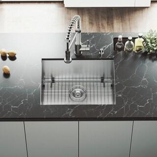 VIGO 23-inch Undermount Stainless Steel 16 Gauge Single Bowl Kitchen Sink, Grid and Strainer