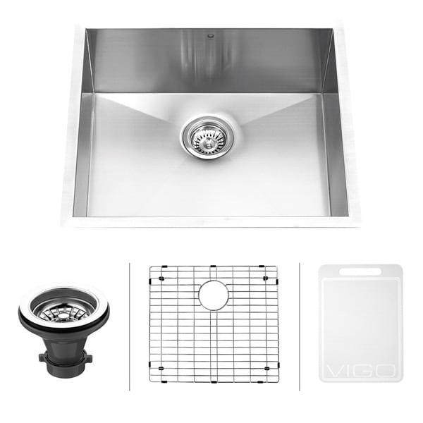 Vigo 23-inch Undermount Stainless Steel 16-gauge Single Bowl Kitchen Sink, Grid and Strainer Set