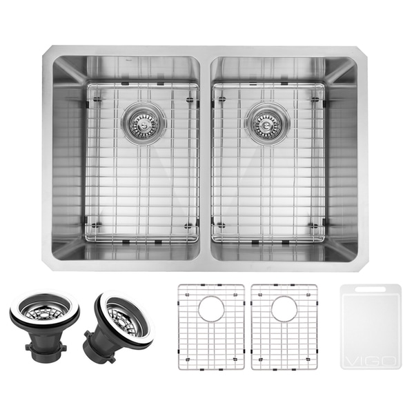 VIGO 29-inch Undermount Stainless Steel 16 Gauge Double Bowl Kitchen Sink, Grids, and Strainers