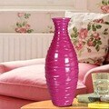 Bright Fuchsia Textured Decorative Wood Vase