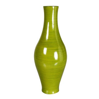 Vibrant Green Decorative Wood Vase