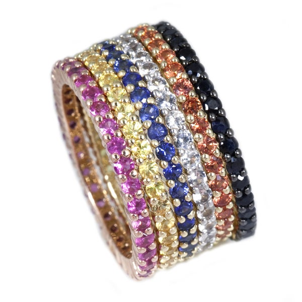 14k Gold Gemstones Eternity Stackable Band Ring