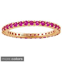 14k Gold Gemstones Eternity Stackable Band Ring