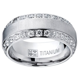 Oliveti Men's Brushed Titanium Cubic Zirconia Comfort Fit Ring (More options available)
