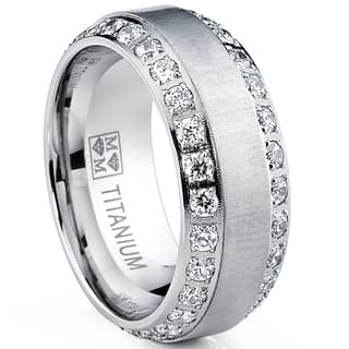 Oliveti Men's Brushed Titanium Cubic Zirconia Comfort Fit Ring