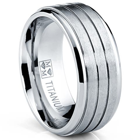 Oliveti Men's Comfort Fit Brushed Grooved Band Titanium Ring